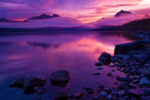 cloud, clouds, fog, lake, landscape, photography, pink, purple, sky, stone, view, water