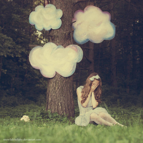cloud, cute, forest, girl, tree