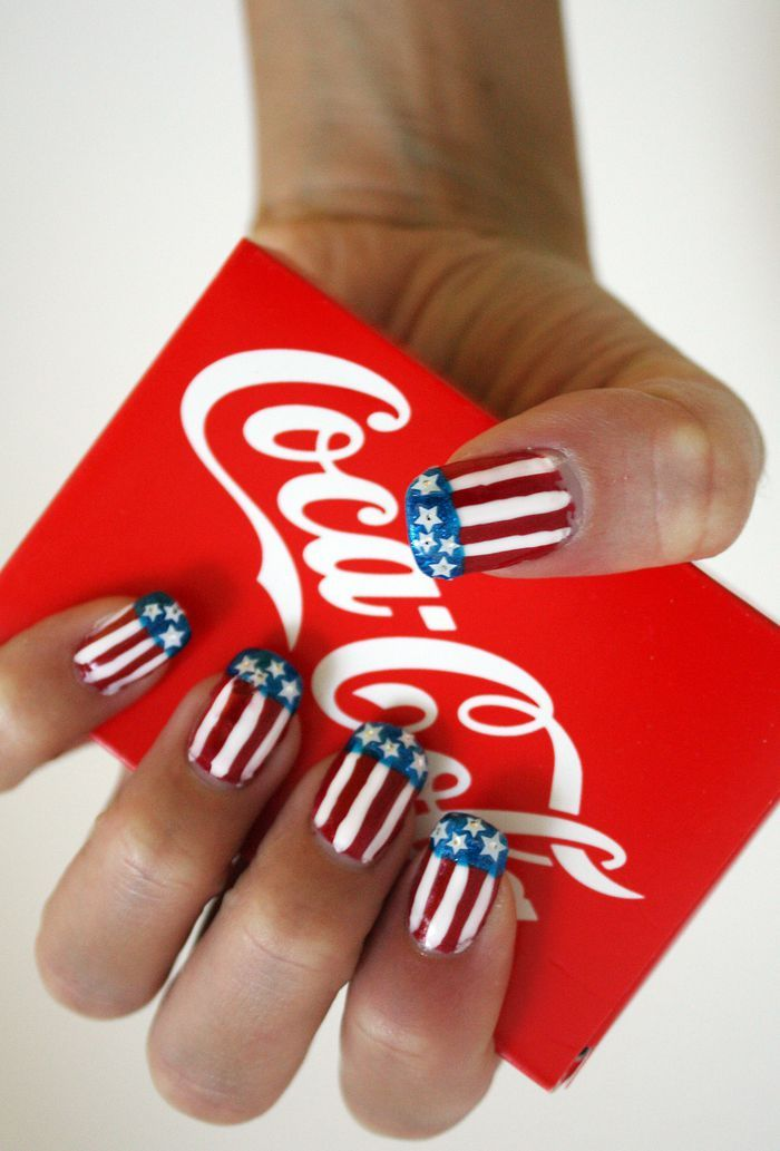 coca cola, flag, nailart, nailpolish, nails