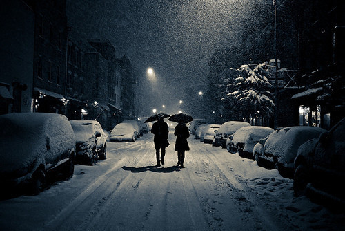 cold, couple, cute, lights, lovely, night, photography, snow, street, together