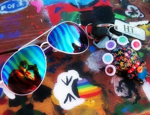 color, cool, keys, paint, rainbow, shades, sunglasses