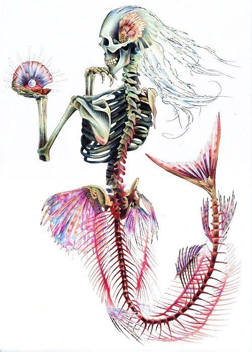 colorful, colors, cool, creepy, hair, lights, mermaid, mirrior, pearl, pink, shells, skeleton