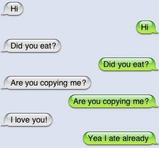 copying, couple, cute, eat, fat, funny, iphone, iphone4, love, messaging, mocking, silly, text, texting, txting