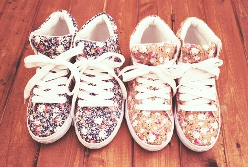 cute, fashion, floral, pretty, shoes, sneakers