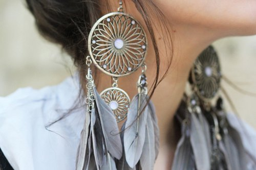 earrings, girl, style