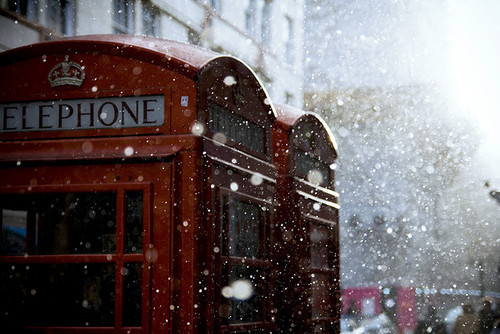 england, phone, phone booth, red, snow