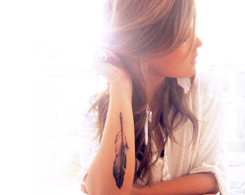 feather, girl, hair, light, photography, pretty, tattoo