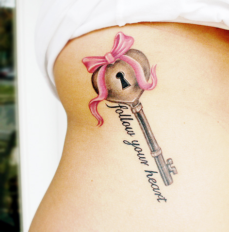 follow your heart, heart, key, ribbon, tattoo, tattoos