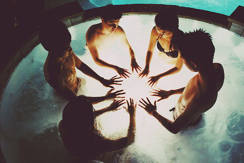 friends, friendship, hands, light, water