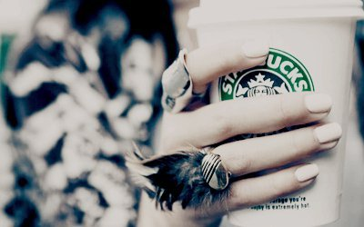 girl, nails, rings, starbucks, starbucks coffee