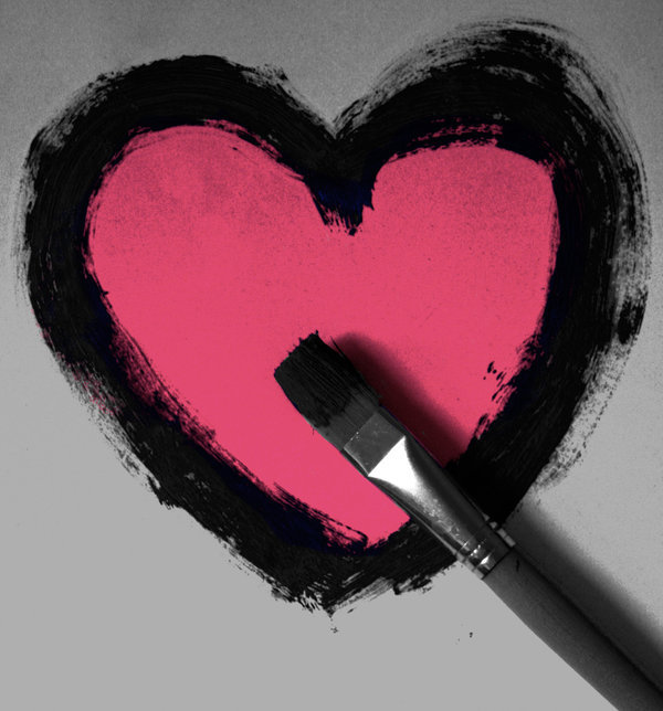 heart, love, paint, pink