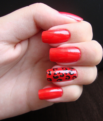 Cute Nail Art Red Also Red Half Moon Nails Also Red Nail Art Designs