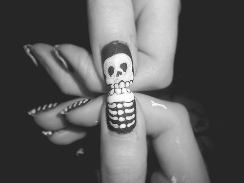 nail, nail art, nails, skeleton, skull