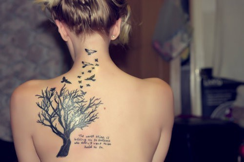 pretty, tattoo, tree, writing