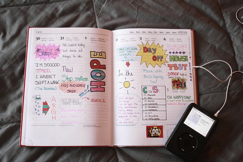 agenda, apple, by honey pie, diary, doodle, drawing, handwriting, honey pie, hope, ipod, journal, melinwonderland, music