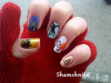 30 seconds to mars, 30stm, echelon, k q, kings and queens, nail art, nails, shamshnita nails, the ride, triad