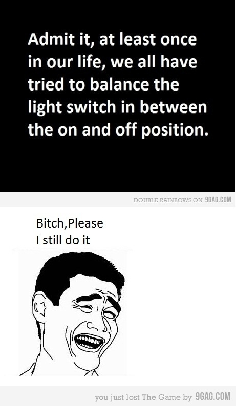9gag, balance, funny, light switch, meme