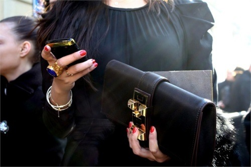 accessories, bag, blasck, blue, clutch, cool, dress, fashion, girl, phone, ring, style, vogue, ysl