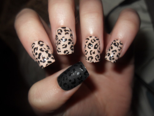 acrylic nails, amazing, animal print, beige, black