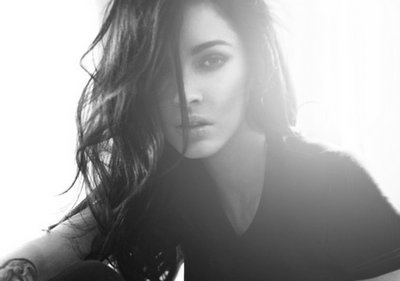 actress, amazing, b&w, back light, beautiful, beauty, black and white, brows, curls, cute, eyes, fame, famous, fashion, girl, hair, light, lips, make up, megan, megan fox, money, style, tattoo