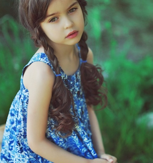 adorable, alisa bragina, beautiful, blue, brunette, child, clothing, cute, dress, face, girl, grass, green, green eyes, hair, innocent, kid, love, lovely, nature, outisde, photo, photograph, photography, pigtails, ponytail, pretty, sad