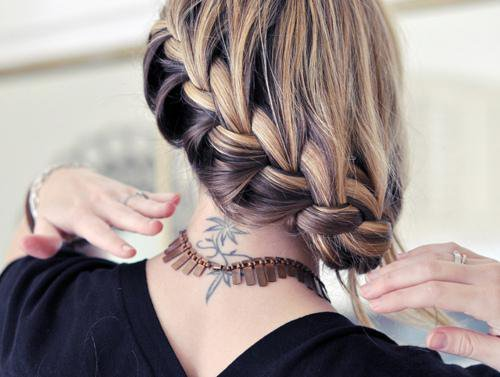 adorable, beauty, blond, braid, brown, cute, elegant, fashion, hair, love, neck tattoo, streaks, style, white, wonderful
