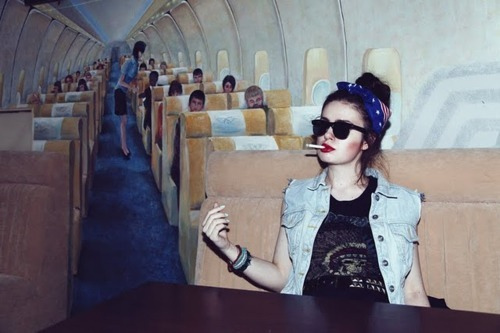 airplane, bandana, beautiful, cigarette, cool, cute, cutie, fashion, fun, girl, gorgeous, hair, happy, hippie, indie, nice, photo, photography, plane, pretty, sunglasses