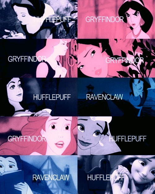aladdin, ariel, beauty and the beast, belle, crossover, disney, gryffindor, harry potter, hufflepuff, jasmine, little mermaid, mulan, pochantas, princess, rapunzel, ravenclaw, slytherin, snow white, tangled, text