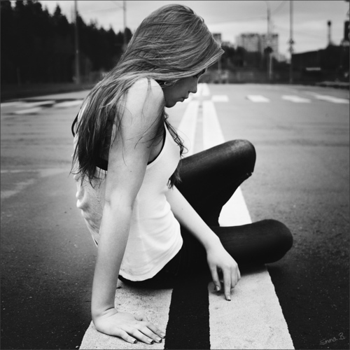 alone, black and white, broken, girl, lonely, road, sad