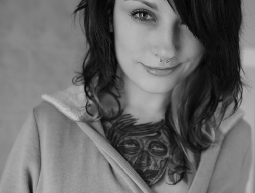 alternative, black and white, cute, girl, photography, piercing, pretty, septum, tattoo