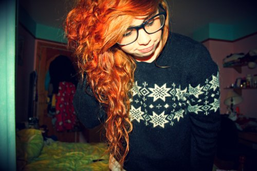 alternative, cool, cute, girl, glasses, hair, model, photography, pretty, redhead, scene