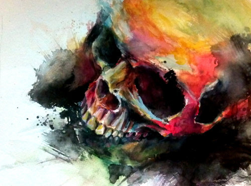 amazing!, art, beautiful, colors, illustration, paint, painting, skeleton, skull, First Set on Favim.com