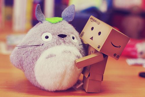 amazon, couple, cute, danbo, hug, japan, kawaii, love, totoro