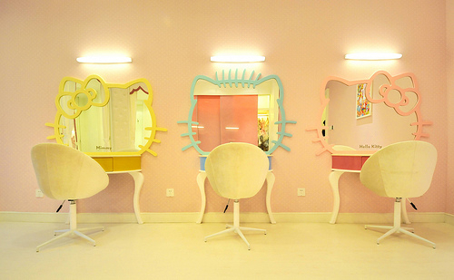 amrelo, azul, blue, espelho, girly, giulialuisa, hello kitty, hello kitty mirror, mirror, pink, rosa, yellow