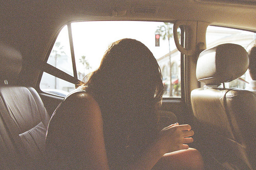 analog, beautiful, car, city, girl