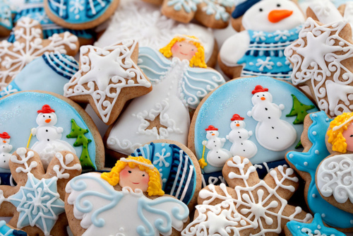 angel, blue, christmas, cookies, cute, cute food, food, kawaii, snow, star, sweet, winter, x-mas