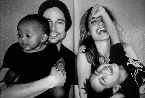 angelina jolie, brad pitt, brunette, family, happiness