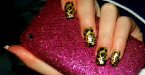 animal print, fake nails, glitter, leopard, nails