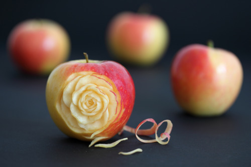 apple, art, creative, fruits, interesting, rose