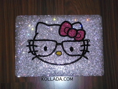apple, bling, bling bling, bow, crystals, cute, hello kitty, hello kitty nerd, kollada, laptop, mac, macbook, macbook pro, pink