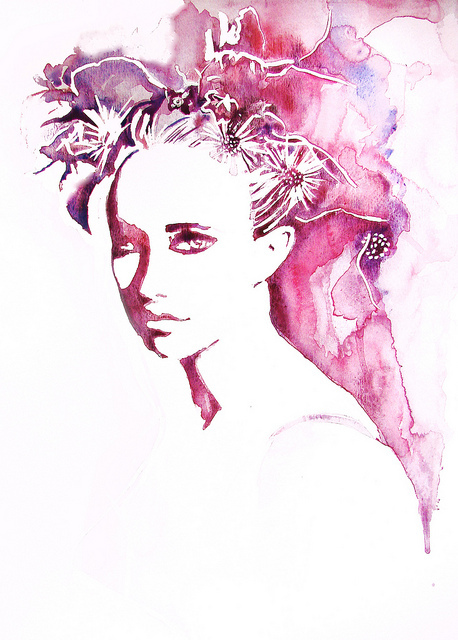 art, artist, cool, drawing, fashion, flowers, girl, girls, glamour, illudstration, makeup, mode, model, paint, painting, photography, pink, spring, style, vintage, watercolor