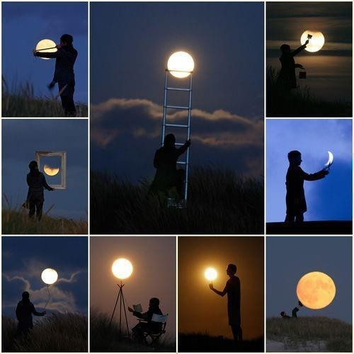 art, artistic, cool, creative, illustration, man, moon, paint, sky