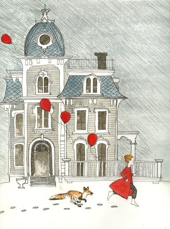 art, balloons, etsy, fox, girl, house, painting, red, snow, watercolor, winter