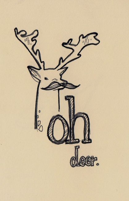 art, deer, doodles, drawing, mustache, text