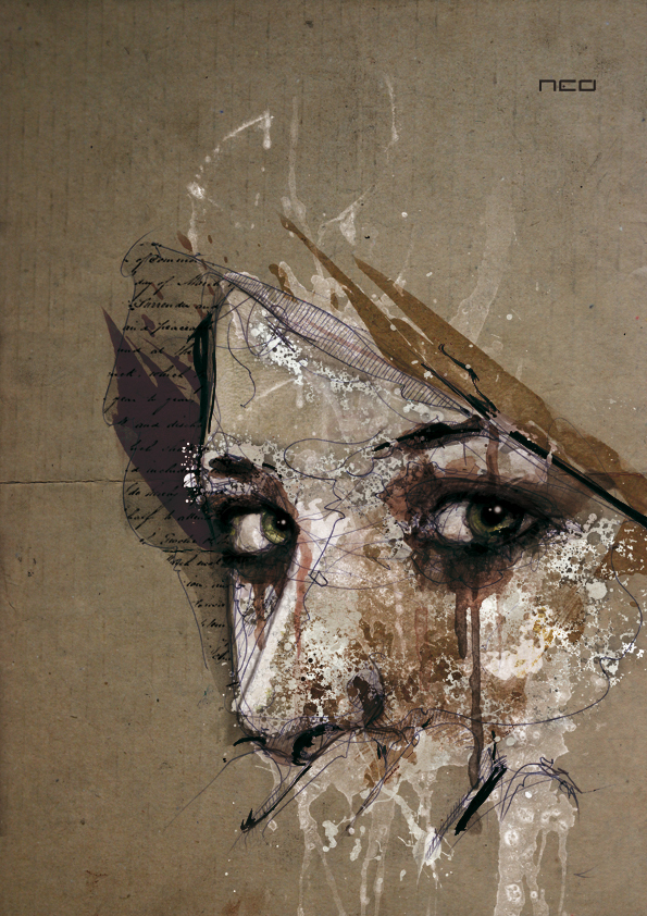 art, eyes, gorgeous, illustration, ink, mixed media, woman