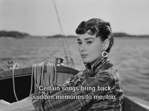 audrey hepburn, black and white, memories, memory, pretty, songs, text, woman
