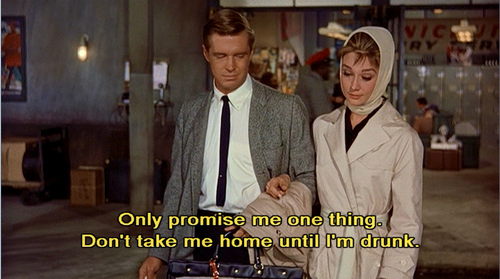 audrey hepburn, breakfast at tiffanys, cinema, drunk, film