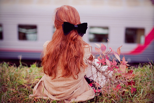autumn, beauty, bow, chilly, fall, fashion, filter, girl, photography, redhead, vintage