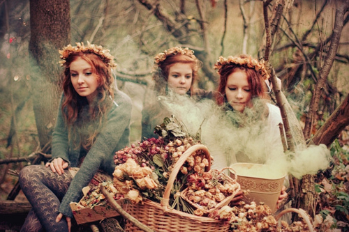 autumn, fairy tale, flowers, ginger, girls, outside, redhead, trees