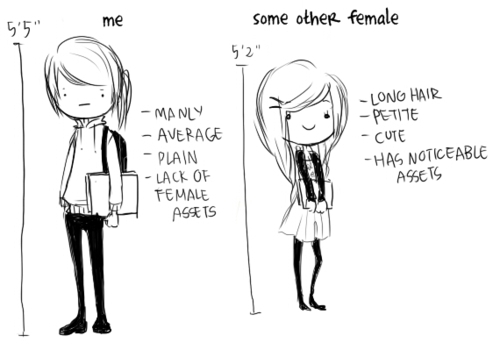 average, beautiful, blah, cartoon, compare, cute, differences, drawing, emo, girl, girls, girly, illustration, lol, manly, model and midget